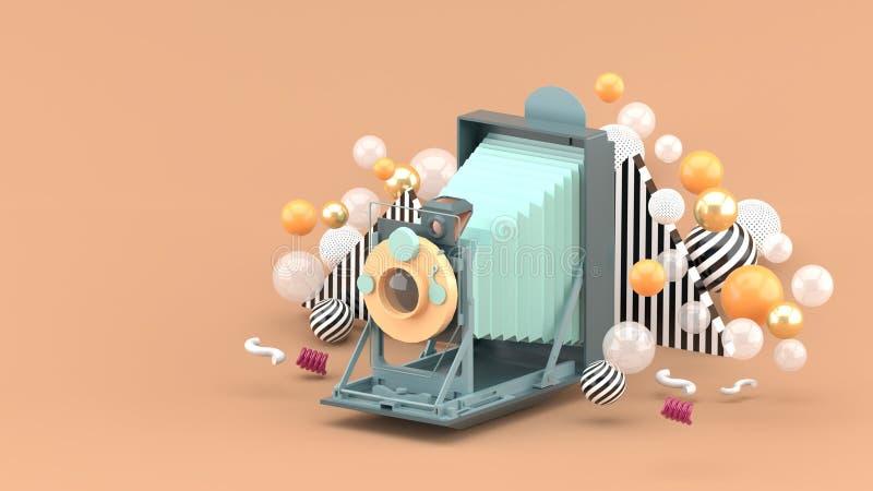 Alte Kamera, die unter bunten Bällen auf braunem Hintergrund schwimmt vektor abbildung