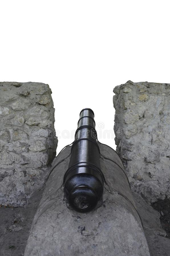 Alte Kanone im Embrasure Hintere Ansicht stockbilder