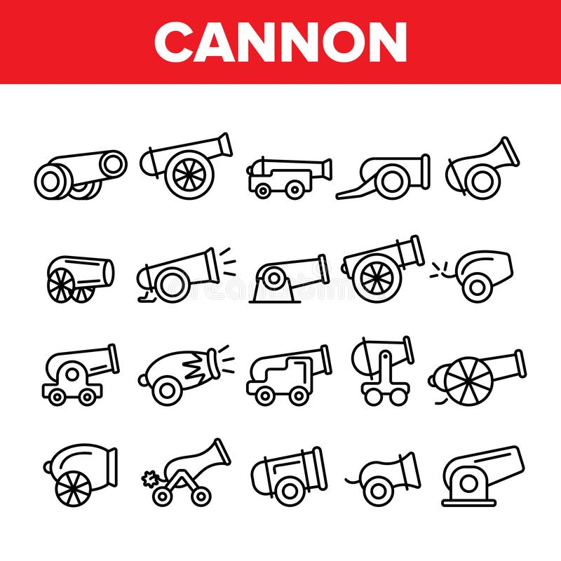 Alte Kanonen, Artillerie-linearer Ikonen-Vektor-Satz lizenzfreie abbildung