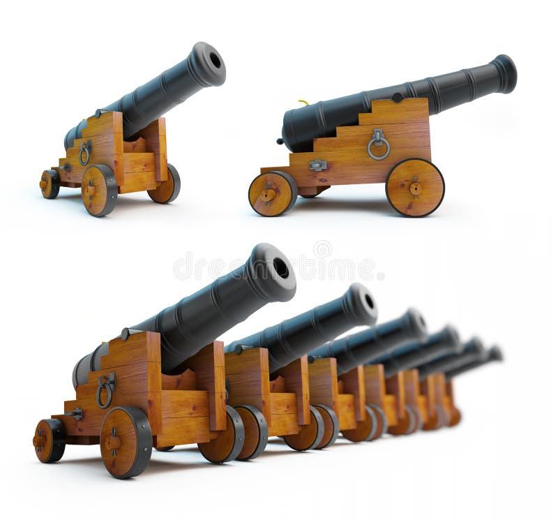 Alte Kanonen eingestellt auf einen weißen Hintergrund stock abbildung