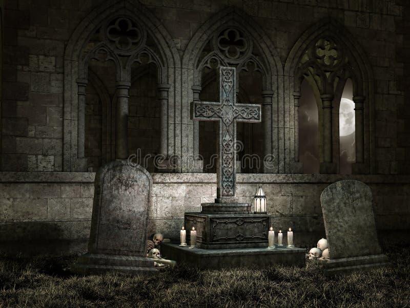 Alte Kapelle mit Kerzen nachts stock abbildung