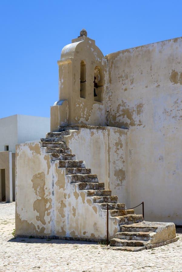 Alte Kapelle von Fortaleza de Sagres in Portugal, Europa lizenzfreie stockfotografie