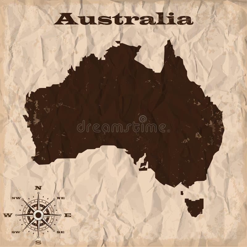 Alte Karte Australiens mit Schmutz und zerknittertem Papier Auch im corel abgehobenen Betrag vektor abbildung