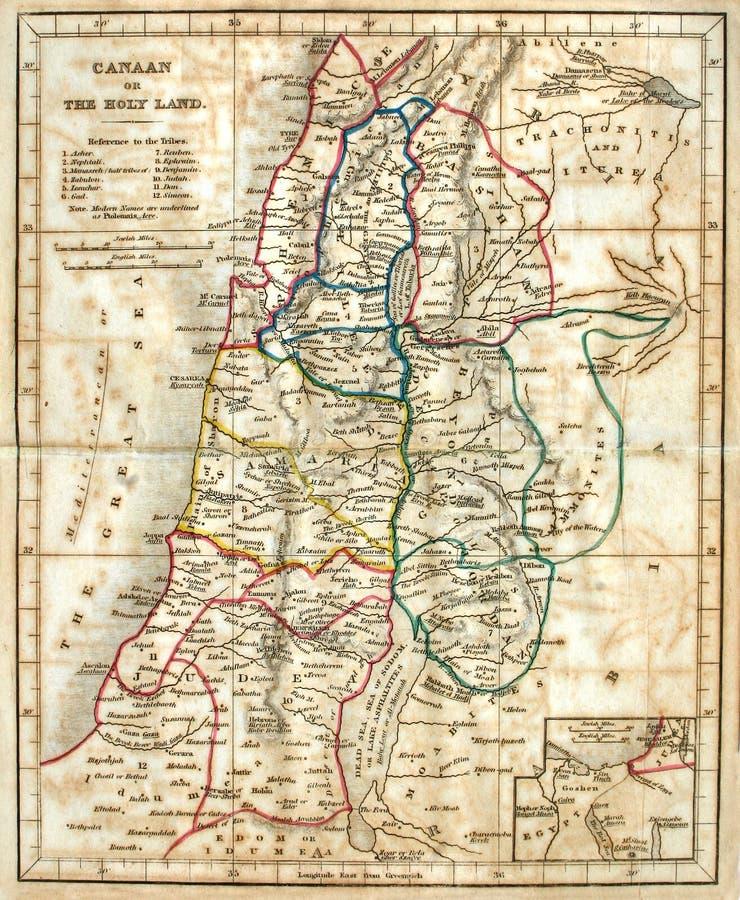Alte Karte des Heiligen Landes. lizenzfreie stockfotografie
