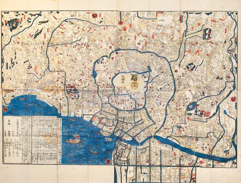 Alte Karte von alter japanischer Stadthauptstadt Edo Tokyo lizenzfreie stockfotografie