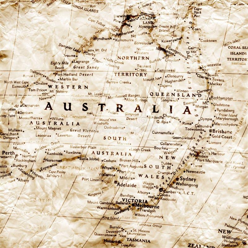 Alte Karte von Australien lizenzfreies stockfoto