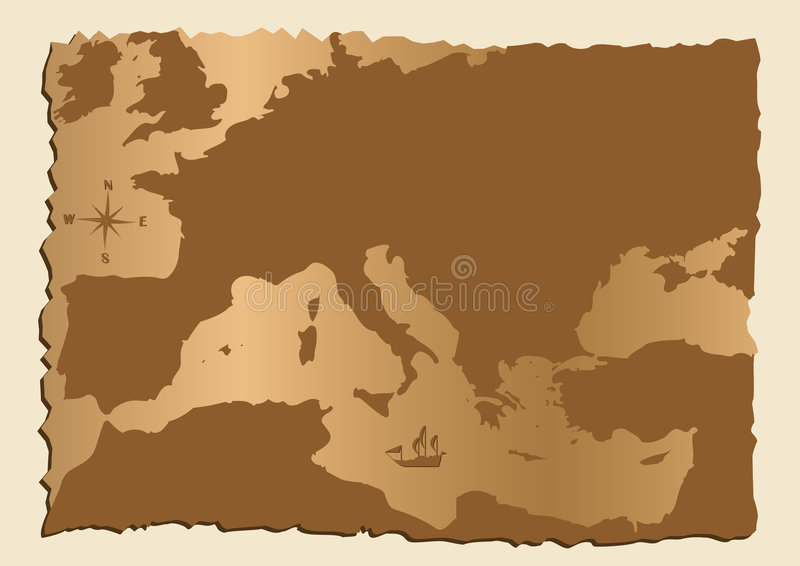 Alte Karte von Europa stock abbildung