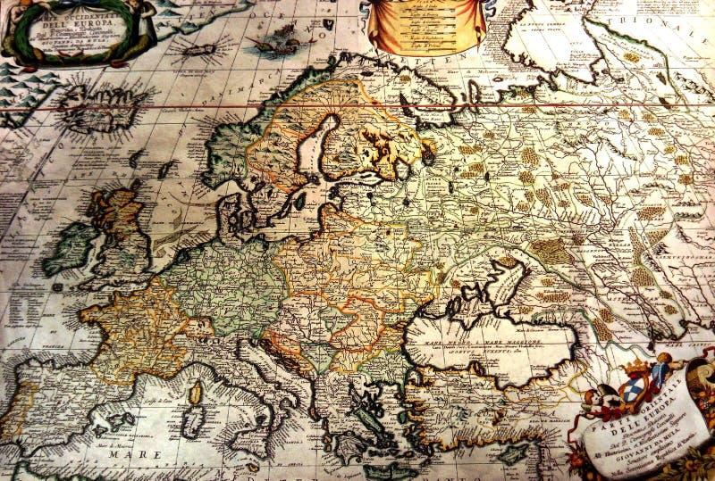 Alte Karte von Europa stockfotografie