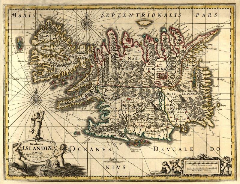 Alte Karte von Island stockbild