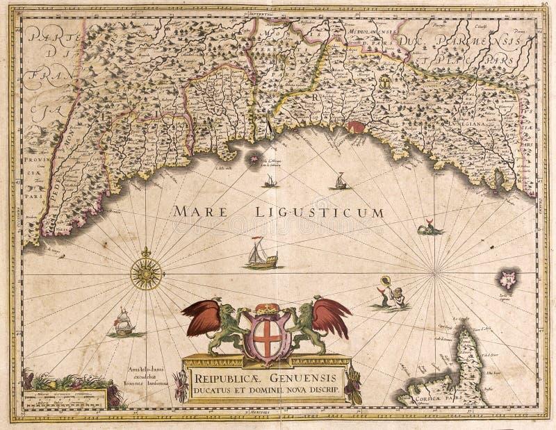 Alte Karte von Ligurien, Italien stock abbildung