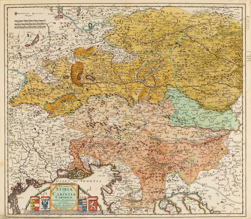 Alte Karte von Mitteleuropa lizenzfreies stockbild
