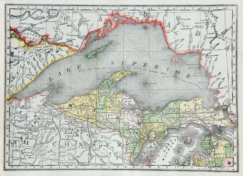 Alte Karte von oberem Michigan lizenzfreie stockfotos