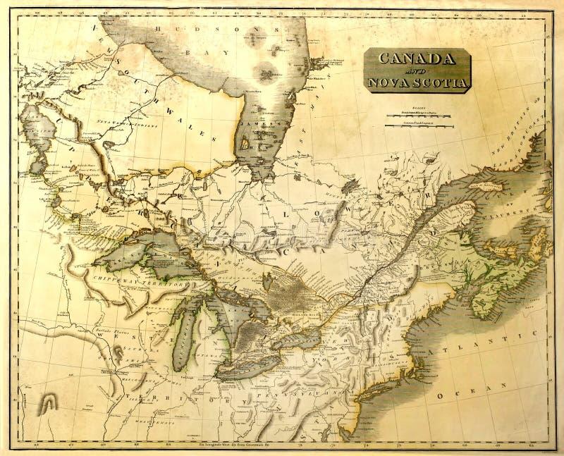 Alte Karte von Ostnordamerika. lizenzfreie stockfotos