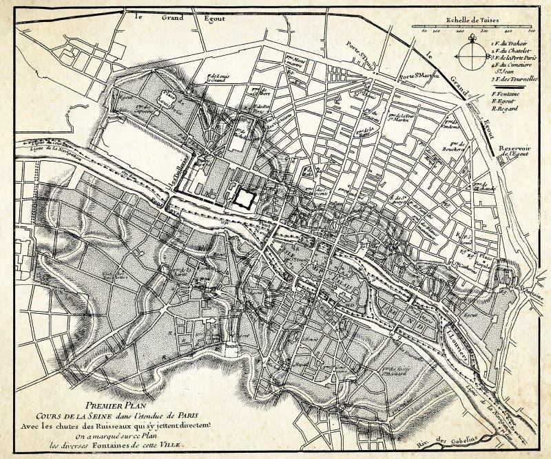 Alte Karte von Paris vektor abbildung