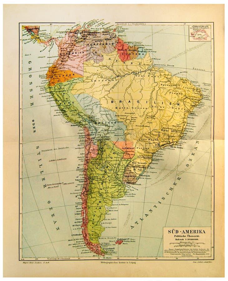 Alte Karte von Südamerika stockbild
