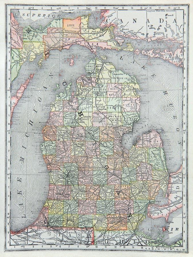 Alte Karte von untererem Michigan stockbilder