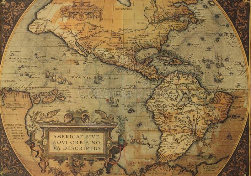 Alte Karten des Nordens und des Südamerikas stockbild