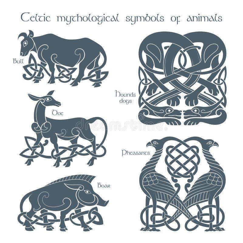 Alte keltische mythologische Symbol animails eingestellt lizenzfreie abbildung