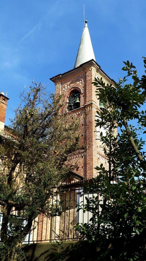 Alte Kirche Collegiata Poggioreale ruiniert Tür im Balkon Medioeval-Dorf Castiglione Olona Italien lizenzfreie stockbilder