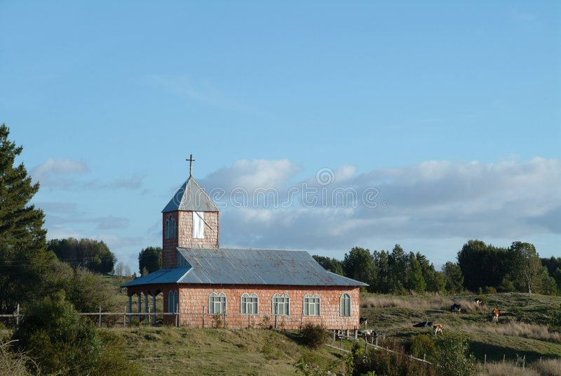 Alte Kirche im chiloe lizenzfreie stockfotos