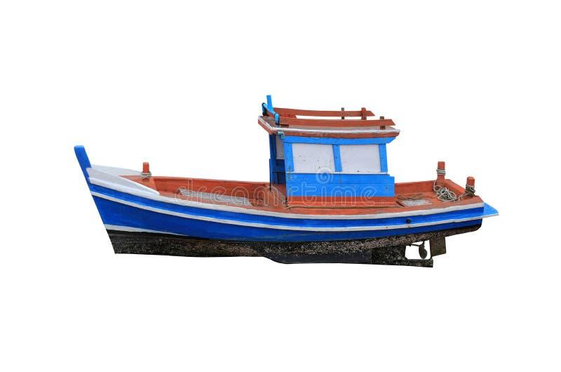 Alte kleine Fischerboote lokalisiert auf weißem Hintergrund stockfotografie