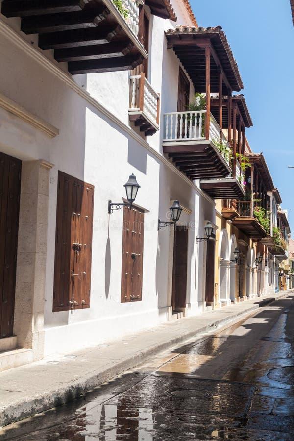 Alte Kolonialhäuser in Cartagena lizenzfreies stockfoto