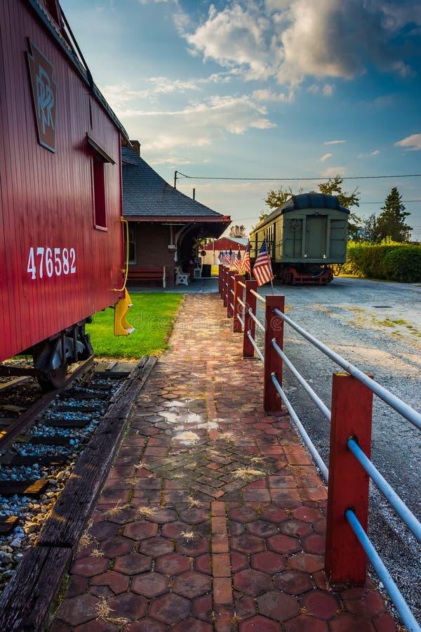 Alte Kombüse am Bahnhof in neuem Oxford, Pennsylvania lizenzfreie stockfotos