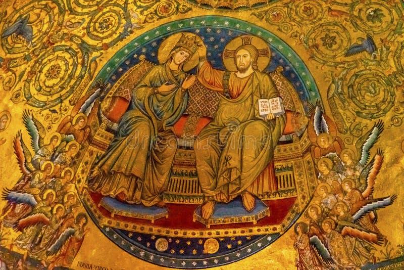 Alte Krönung Mary Mosaic Basilica Santa Maria Maggiore Rom Italien lizenzfreie stockfotos