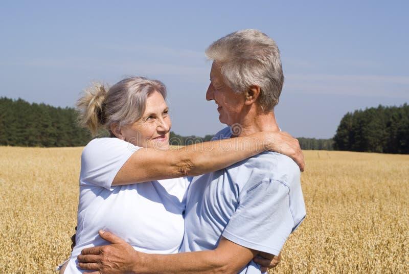 Alte lächelnde Paare stockfotografie