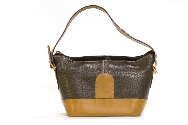Alte lederne braune Dame ` s Handtasche stockbild
