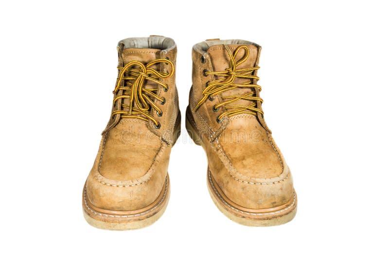 Alte lederne Schuhe stockbild