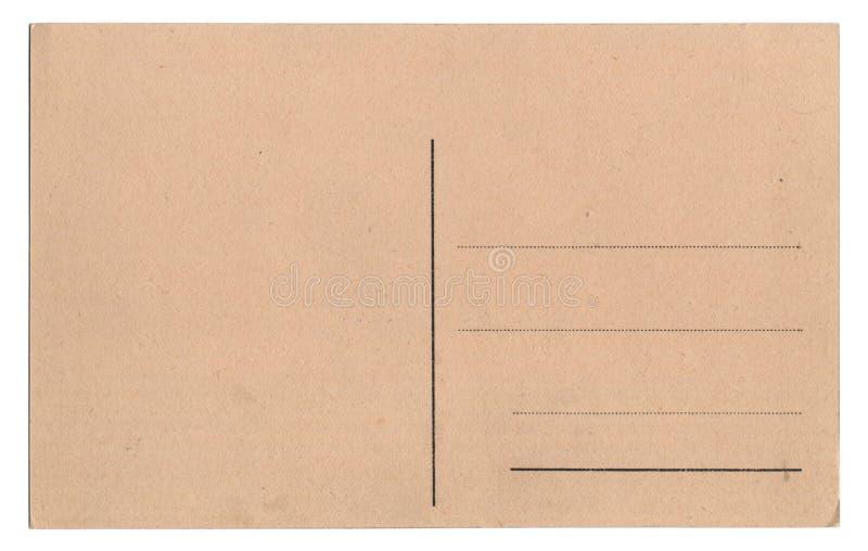 Alte leere Postkarte getrennt auf Weiß lizenzfreies stockbild