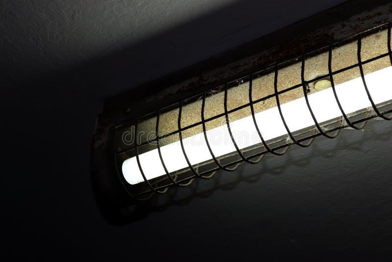 Alte Leuchtstofflampen auf der Decke, Leuchtstofflampen im dunklen, Neonlicht, Leuchtstoff Glühlampe als elektrische Energie lizenzfreie stockbilder