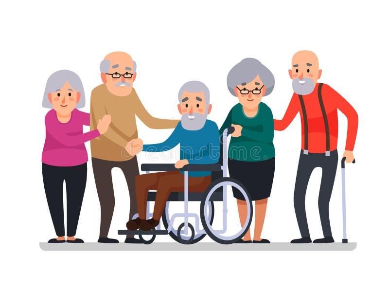 Alte Leute der Karikatur Glückliche gealterte Bürger, behinderter Senior auf Rollstuhl und älterer Bürger mit einem Stockkarikatu stock abbildung