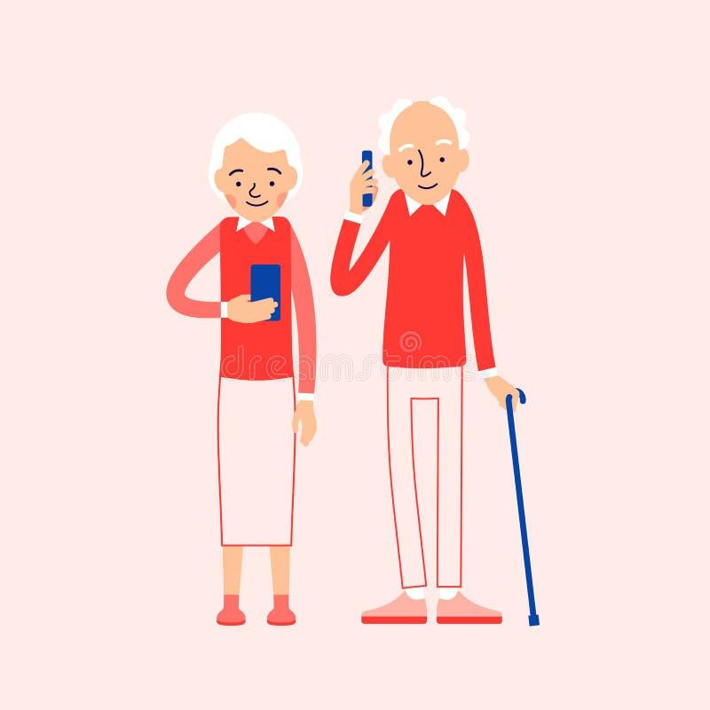 Alte Leute mit Telefon Ältere Personen, Mann und Frau, die a steht stock abbildung