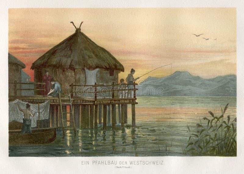 ALTE LEUTE-STAPEL-HAUS DIE SCHWEIZ 1890 stockfotografie