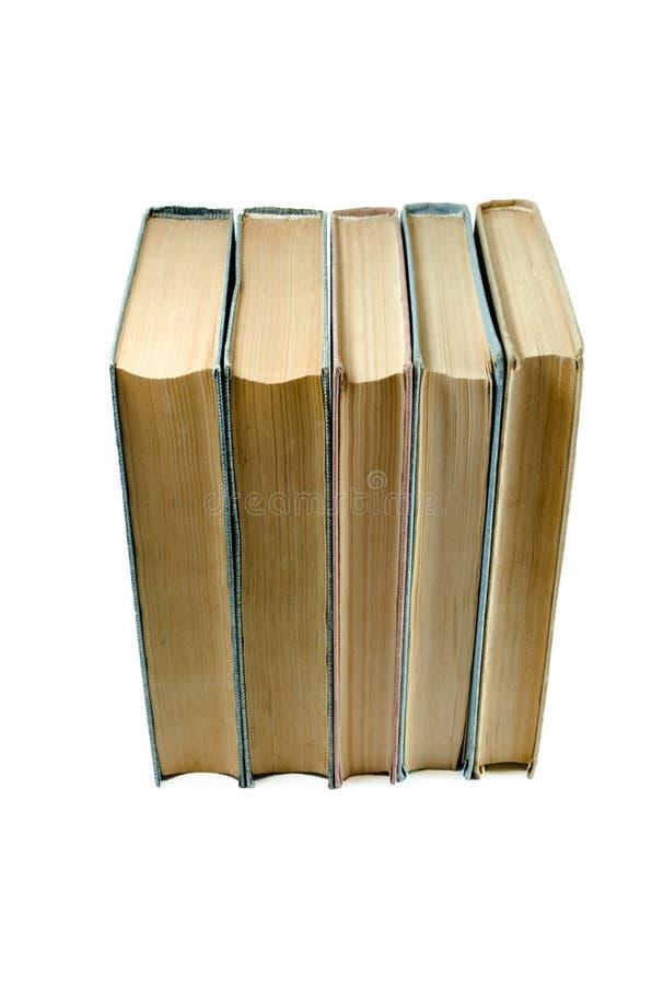 Alte lokalisierte Bücher mit Gelben Seiten auf weißem Hintergrund Ausbildungs- und Wissenskonzept Front Top-Ansicht lizenzfreies stockbild