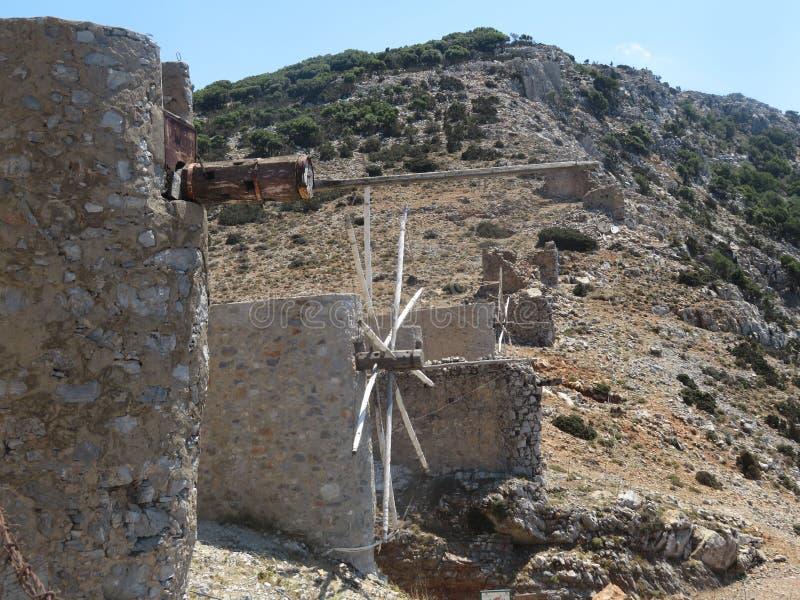 Alte Mühlen von Kreta stockbild