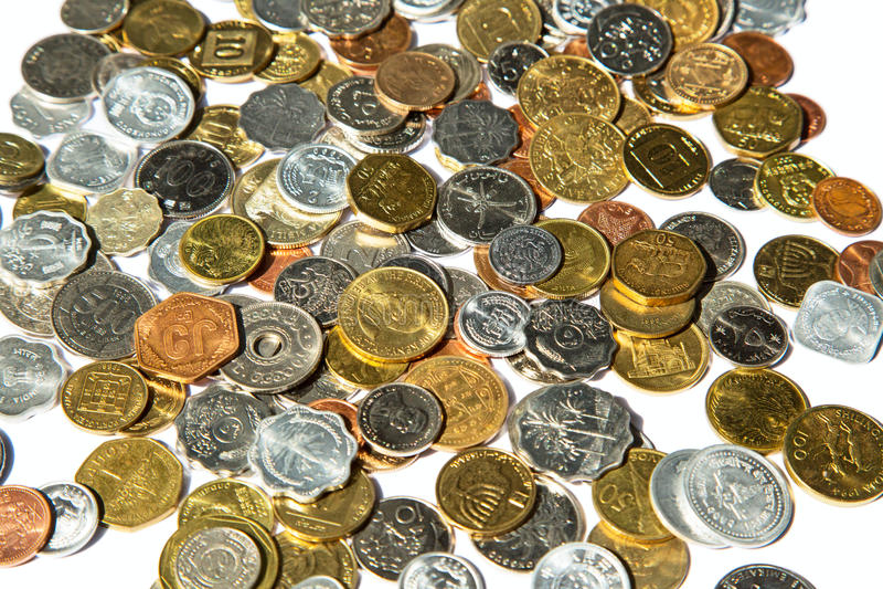 Alte Münzen stockfotos
