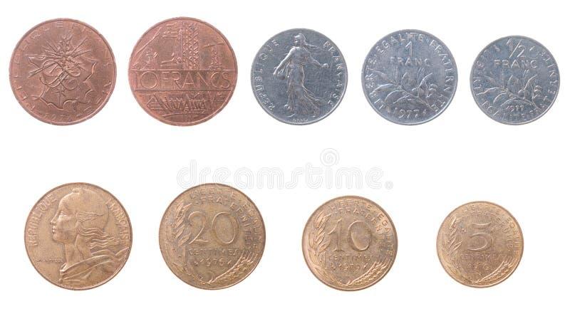 Alte Münzen nach Frankreich lizenzfreie stockfotos