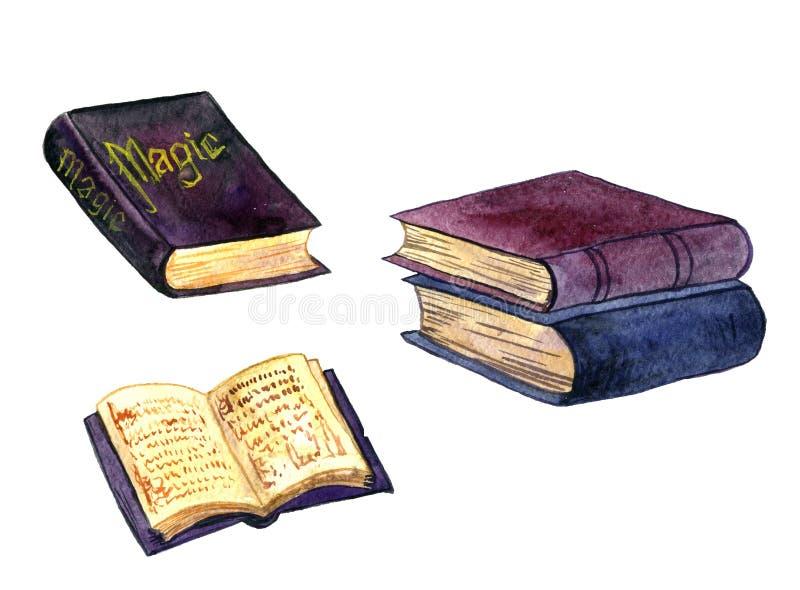 Alte magische Bücher des Aquarells lizenzfreie abbildung
