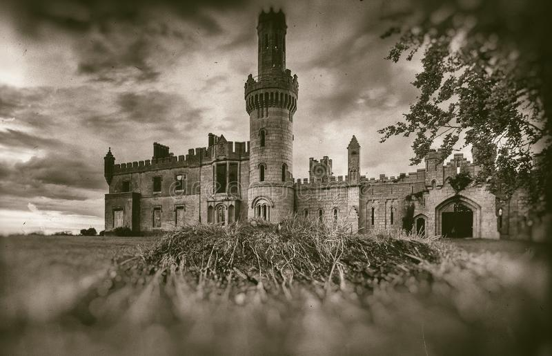 Alte mittelalterliche Schlossruinen, Baum und stürmischer Himmel in der Sepiaart lizenzfreies stockfoto