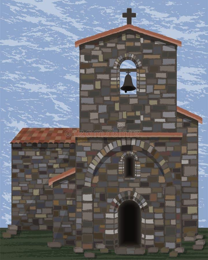 Alte mittelalterliche Steinkirche mit Glocke und gewölbtem Eingang in visigoth Arten, Vektor stock abbildung