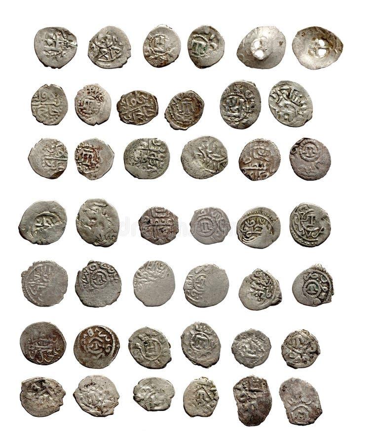 Alte mittelalterliche türkische und tatarische Münzen lizenzfreie stockfotos