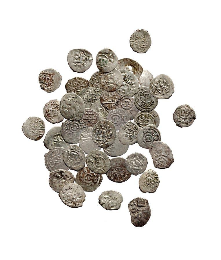 Alte mittelalterliche türkische und tatarische Münzen stockfotografie