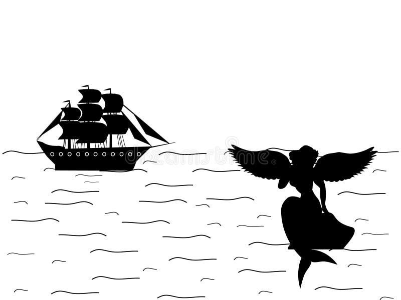 Alte Mythologiephantasie des Sirenenmeerjungfraunajadeschiffsschattenbildes stock abbildung