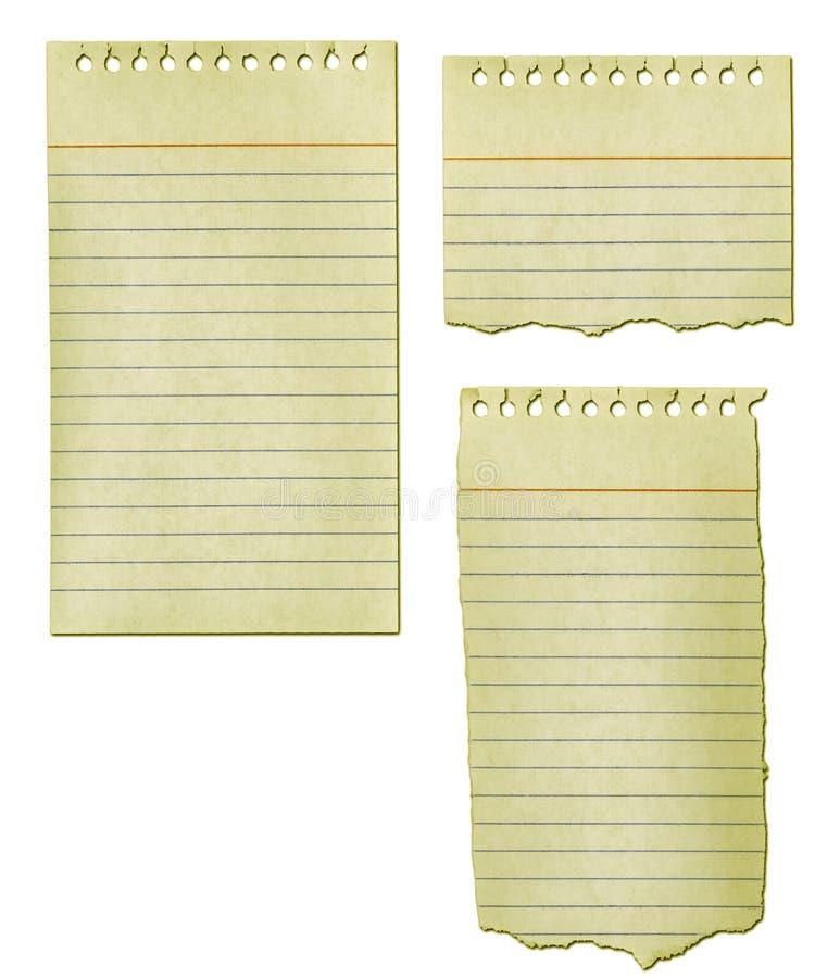 Alte Notizblock-Papier-Ansammlung lizenzfreie abbildung