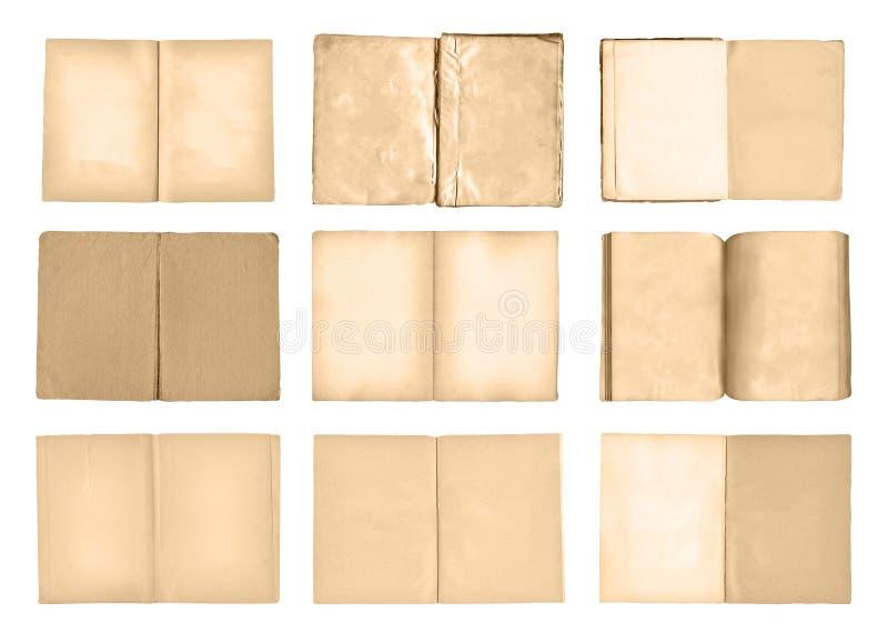 Alte offene Bücher eingestellt lokalisiert auf weißem Hintergrund stockbilder