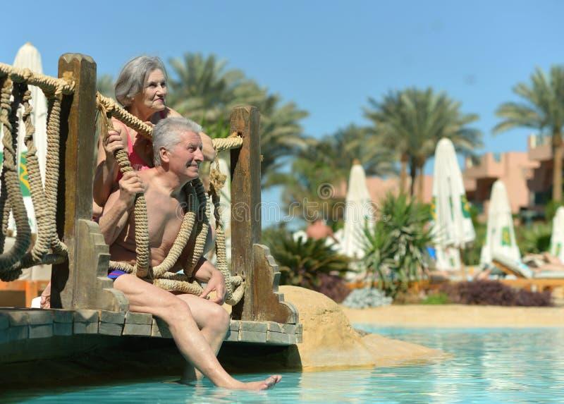 Alte Paare im Pool lizenzfreies stockfoto