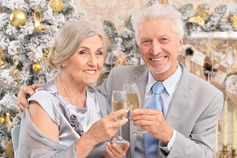 Alte Paare mit dem Champagner, der Weihnachten nahe Baum feiert lizenzfreies stockbild